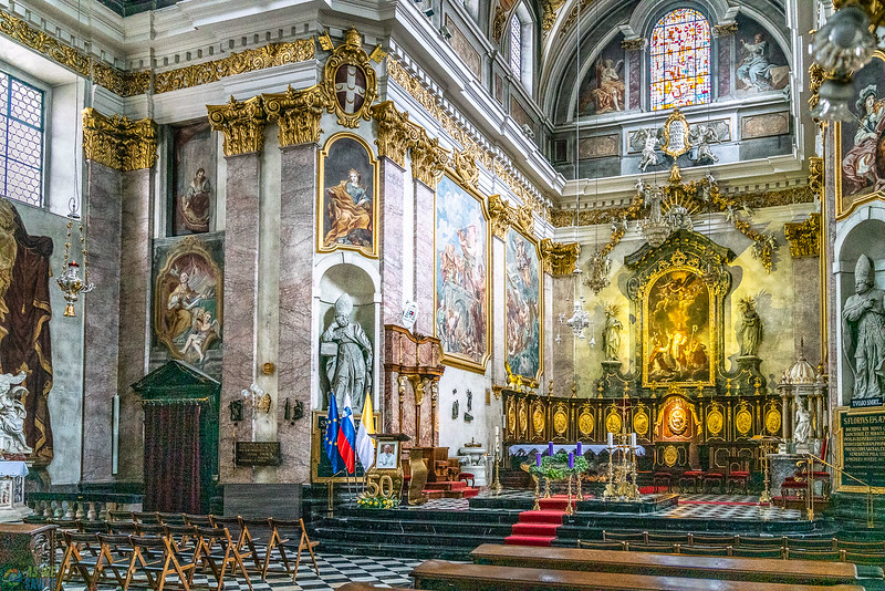 the ornate interior the the cathedral in ljubljana