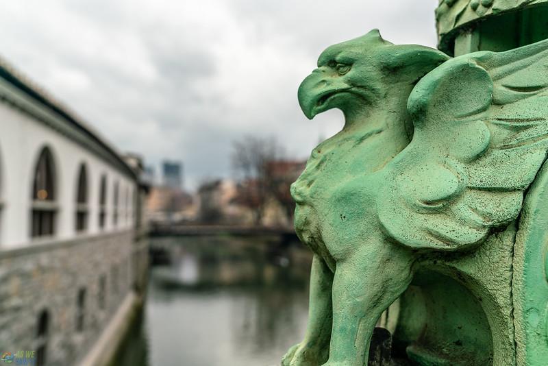 One of the slovenian style dragons on dragon bridge.