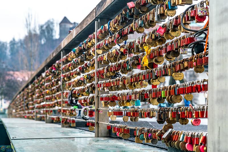 Locks on butcher's bridge in ljubljana.