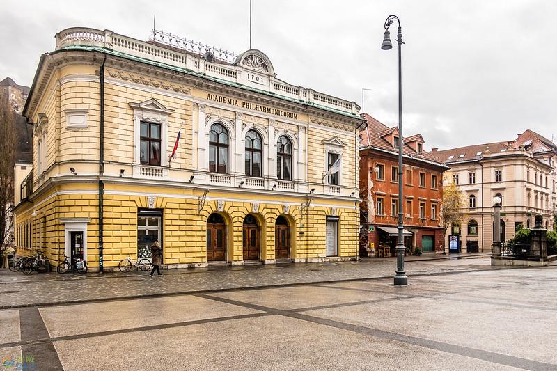 Slovenian philharmonic building on congress square in ljubljana.
