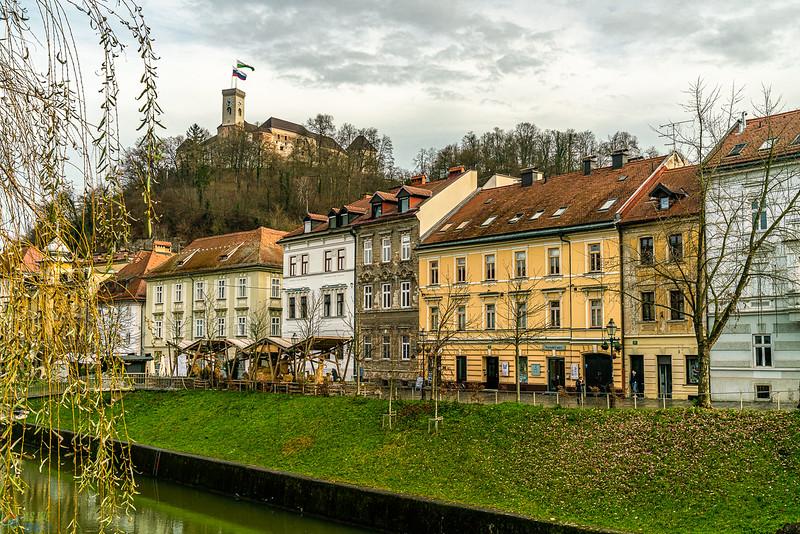 Unique architecture of Ljubljana with the castle above