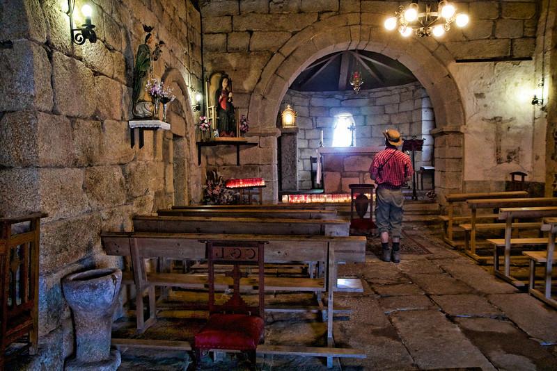 Pilgrim in a village church