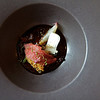 Pigeon liver and onion, curry-careamelized walnuts, juniper, orange peel and herbs