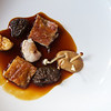 Charcoal grilled lamb breast fillet and sweetbreads with spring mushrooms