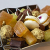 profiteroles and chocolates in gold leaf
