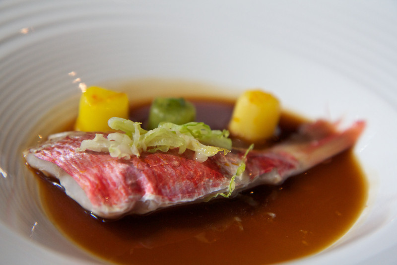 Red mullet cooked at a low temperature