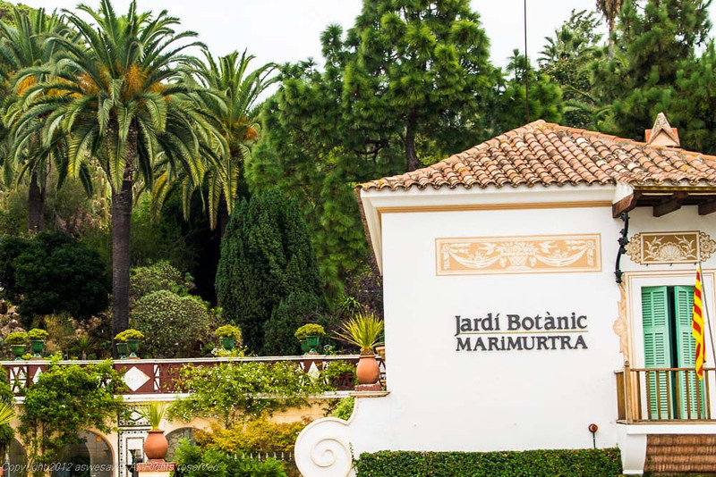 Entrance building to Mar i Murtra Botanical Gardens, in Blanes, Spain. Front of building says Jardi Botanic Marimurtra. Palm trees and garden in background