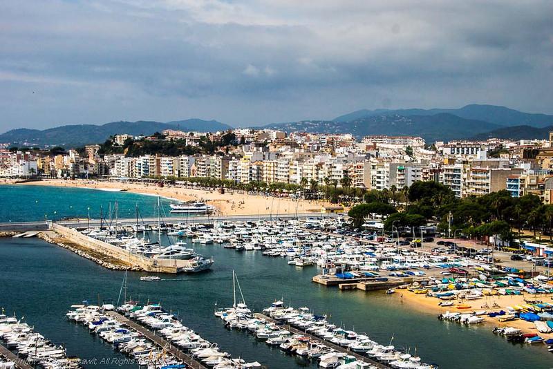 The beach, marina and seaside town of Blanes, Costa Brava, Catalunya