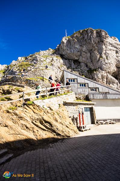 people climbing up a path on Mt. Pilatus