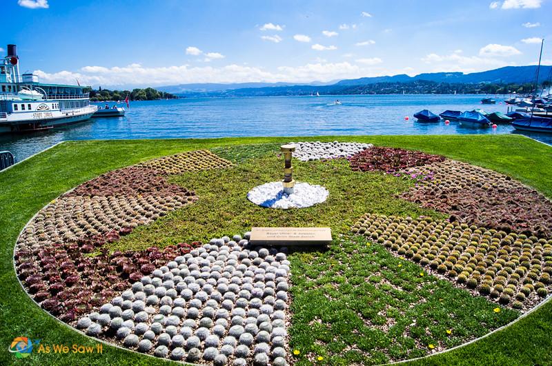 Flower garden next to Lake Zurich, Switzerland