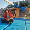 Betsy on the deck journaling