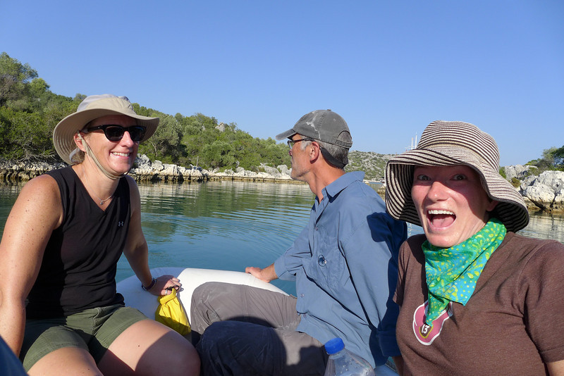 Taking the dinghy from the boat to the shore to hike