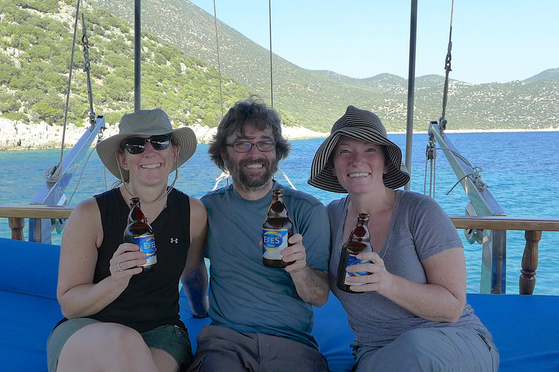 We celebrate with some Efes on the boat