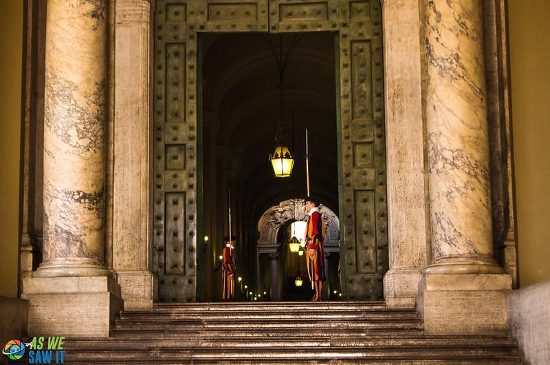 Swiss Guards at Vatican doorway