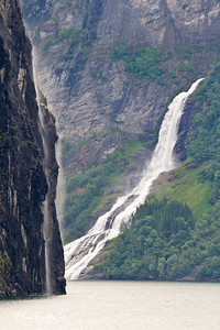 The Suitor and part of the 7 Sisters waterfalls at Geirangerfjord, Norway