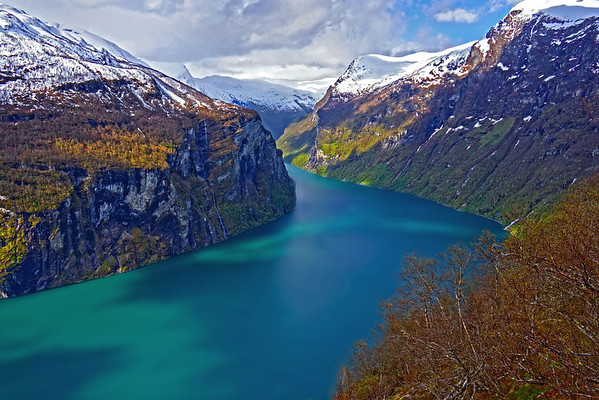 A smooth waterway of the Norwegian fjords - color