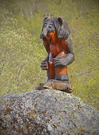 The Norwegian Troll --  In Old Norse sources, beings described as trolls dwell in isolated rocks, mountains, or caves, live together in small family units, and are rarely helpful to human beings. Later, in Scandinavian folklore, trolls became beings in their own right, where they live far from human habitation, are not Christianized, and are considered dangerous to human beings. Depending on the region from which accounts of trolls stem, their appearance varies greatly; trolls may be ugly and slow-witted or look and behave exactly like human beings. (Photo by Jim)