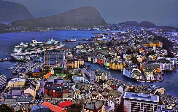 Our first stop on the Brilliance of the Seas was Alesund, Norway.  It is a sea port, and is noted for its unique concentration of Art Nouveau architecture.  Ålesund town is the administrative centre of the municipality as well as the principal shipping town of the Sunnmøre district.  Ålesund municipality has a population of 42,982 as of 2010. (Jim)