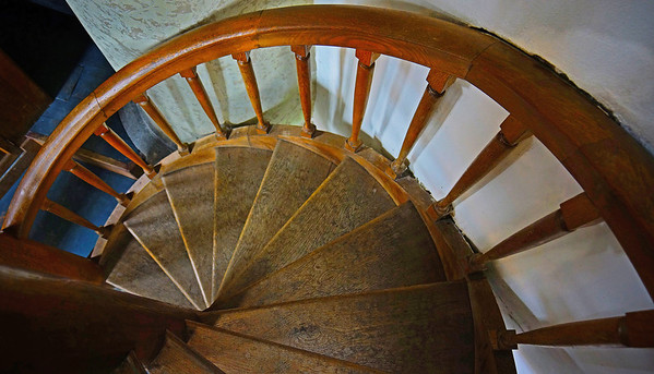 Stairwell to balcony  of the First Reformed Protestant Church of the Netherlands, 1607, Willemstad, Holland, #0671