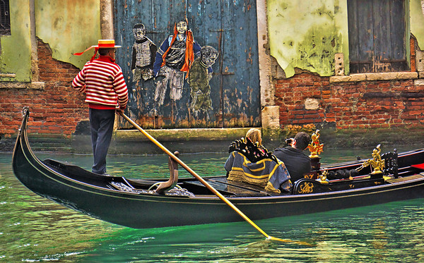 Gondola and street artwork in Venice, Italy, #0574