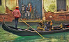 Gondola and street artwork in Venice, Italy, #0574