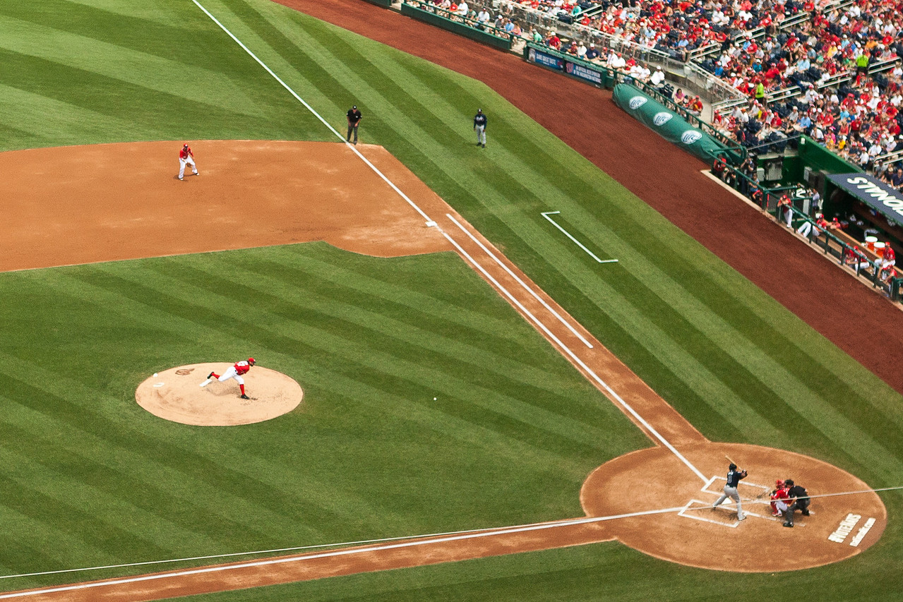 Close up on the Nationals pitching prowess. Not bad for 70mm focal length from the upper deck! Digital, June 2014.