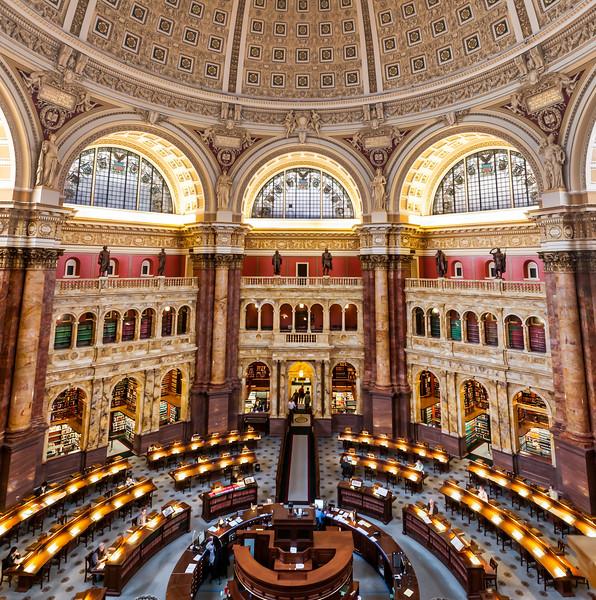 Main Reading Room in the Library of Congress. Washington DC,  digital, Mar 2015.