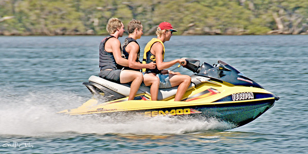 Three on a jet ski.....Exclusive Original stock Lifestyle Photo Art digital download. DIY Designer Print.