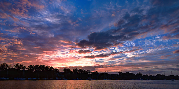Gosford waterfront nautical sunrise waterscape image.