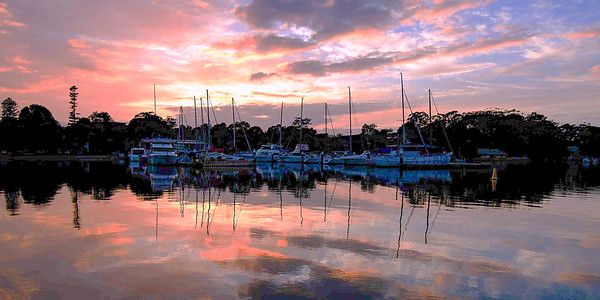 Gosford waterfront nautical marina sunrise