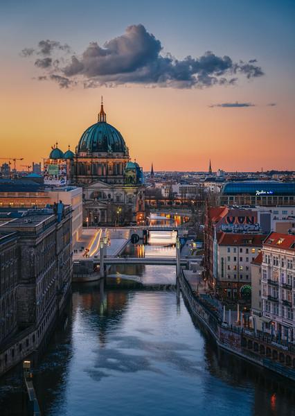 Aerial view over Spree river at sunset