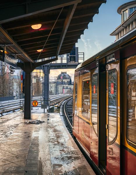 Commuter train at Hackescher Markt station