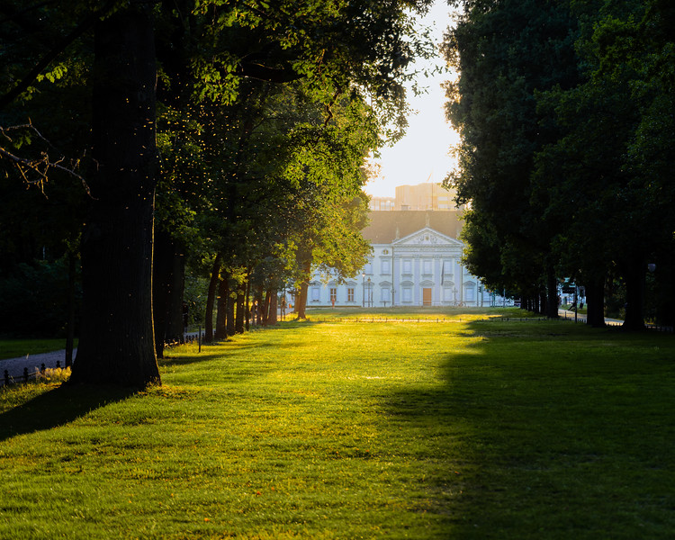 Last light at Tiergarten backlitting Bellevue Palace