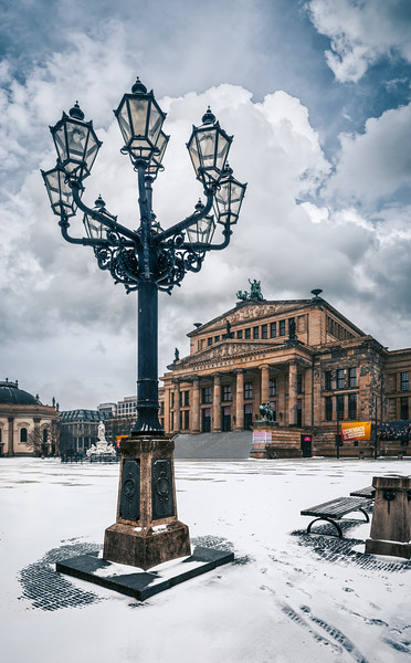 Konzerthaus Berlin on a winter day with historical street lamps