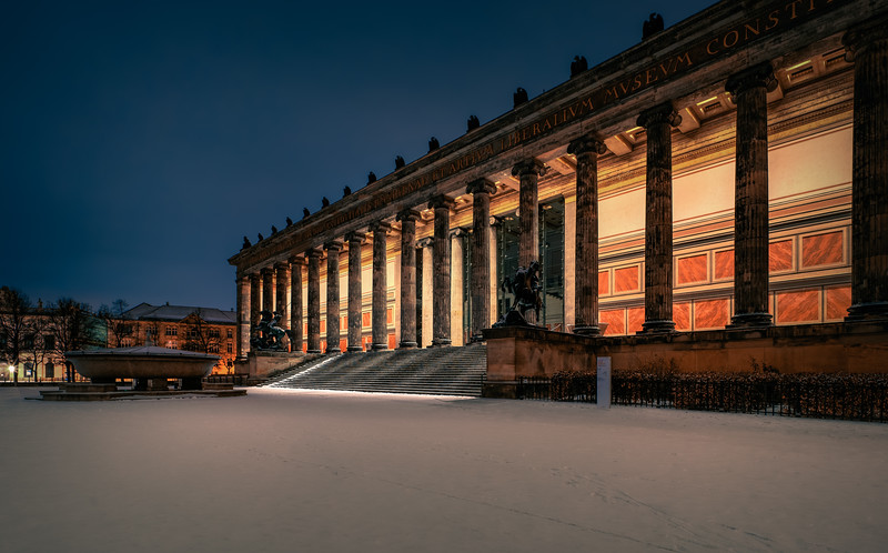 Old Museum in a winter night