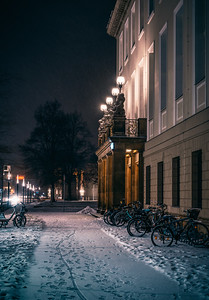 Behind the Catholic Church in a winter night