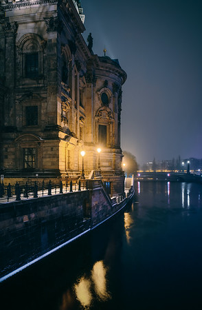 Berlin cathedral in a cold winter night