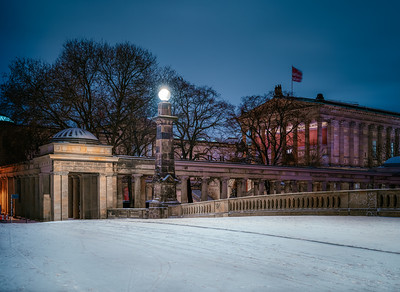 Snow covered Friedrichsbrücke with Old National Gallery in the background