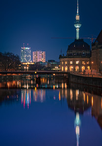 Spree River and Bode Museum at night