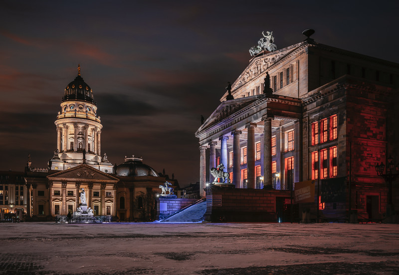 Illuminated Konzerthaus and German Cathedral in a winter night