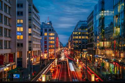 Berlin Friedrichsstraße during blue hour