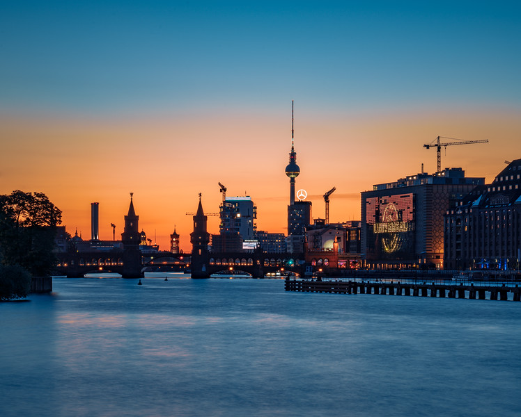 Berlin cityscape after sunset