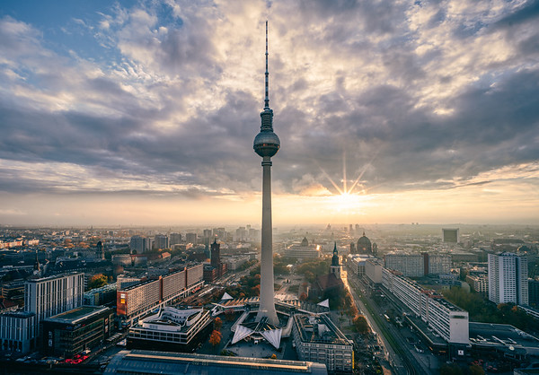 Berlin cityscape during sunset
