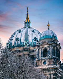 Snow-covered dome of Berlins cathedral