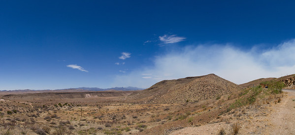 North of Hillsboro, NM, looking northwest toward the wildfire area in Gila National Forest.