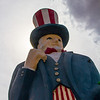 Uncle Sam statue outside Sparky's restaurant, Hatch, NM.