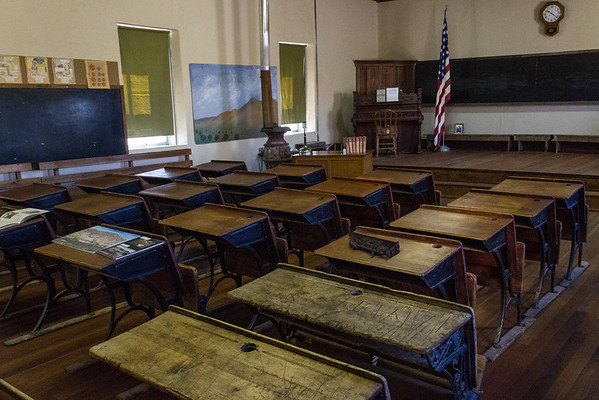 One-room schoolhouse interior.