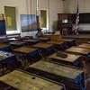 One-room schoolhouse interior.