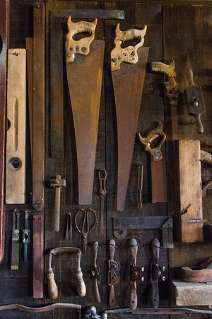 Carpenter's tools in the blacksmith shop.