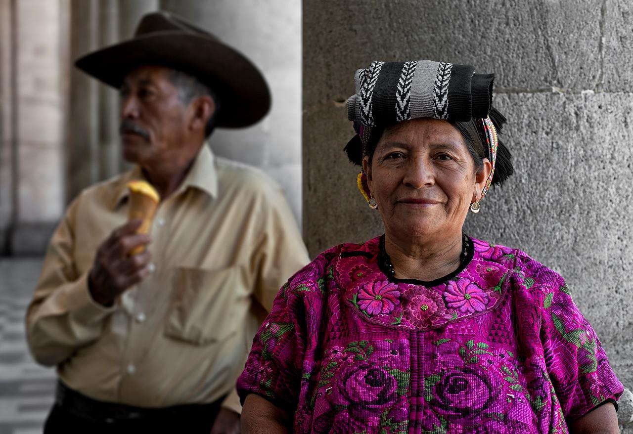 Couple eating ice cream.<br /> <br /> Quetzaltenango, guatemala, 2014.